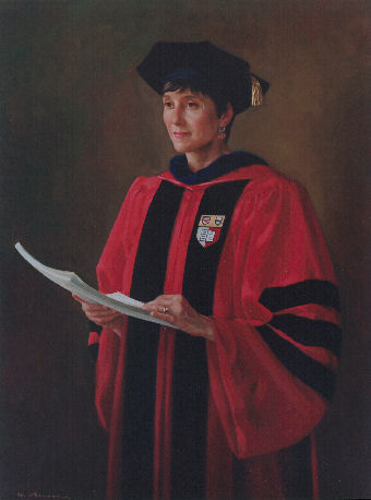 oil portrait of female professor