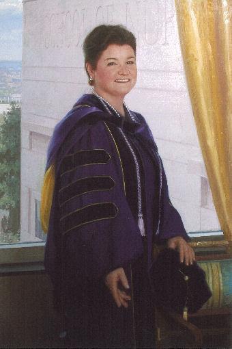 oil portrait of female teacher