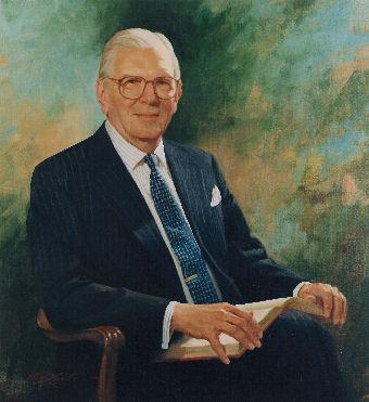 oil portrait of professor sitting