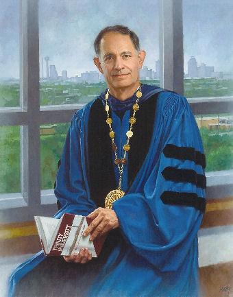 oil portrait of professor in blue gown