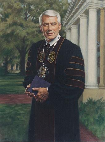 oil portrait of professor standing