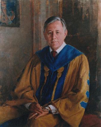 oil portrait of professor in gown