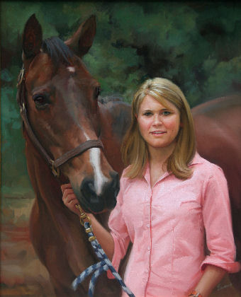 oil portrait of girl with horse