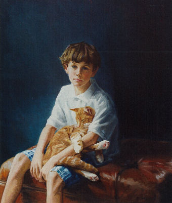 oil portrait of boy with cat