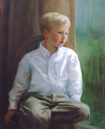 oil portrait of boy looking out window