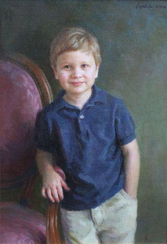 oil portrait of boy in blue shirt