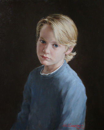 oil portrait of boy with blue eyes