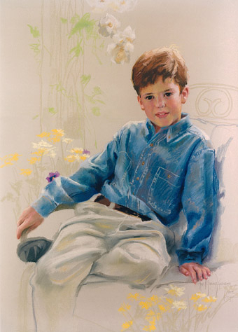pastel portrait of boy in denim