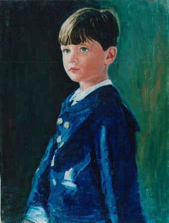 pastel portrait of boy in blue
