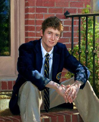 oil portrait of boy after school