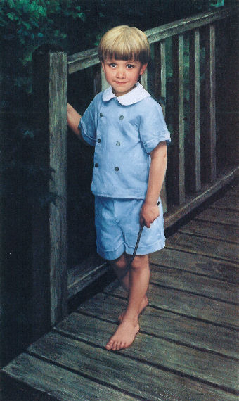full-length oil portrait of boy