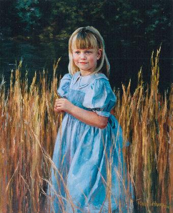 oil portrait of girl in blue dress