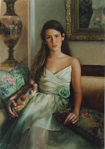 oil portrait of girl on sofa
