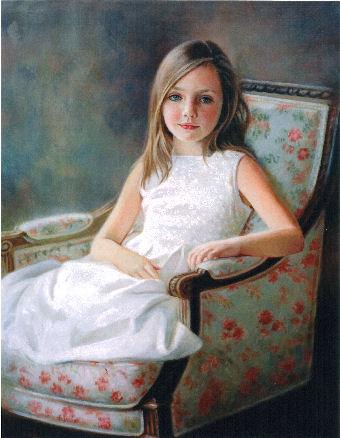 oil portrait of girl in white dress