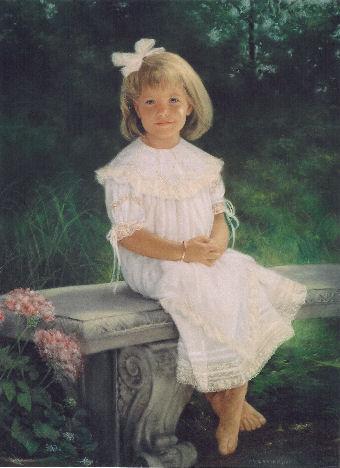 oil portrait of girl on bench