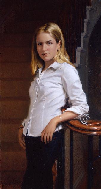 oil portrait of girl standing