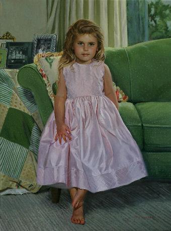 full-length oil portrait of girl