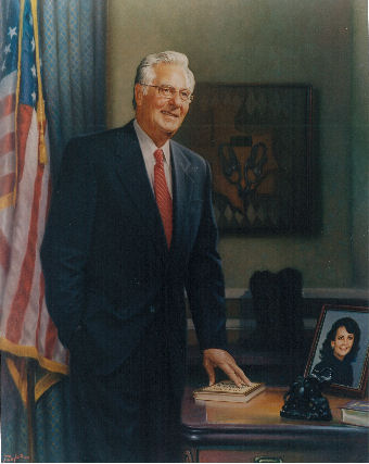 oil portrait of public figure standing