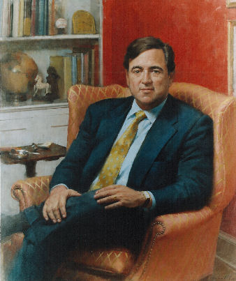 oil portrait of public figure sitting