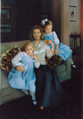 oil portrait of mother with twins