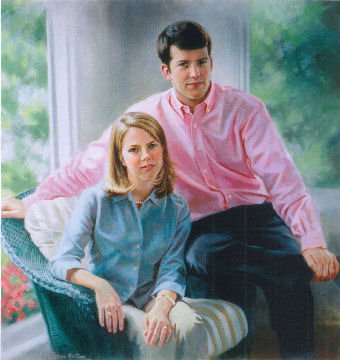 oil portrait of girl and boy