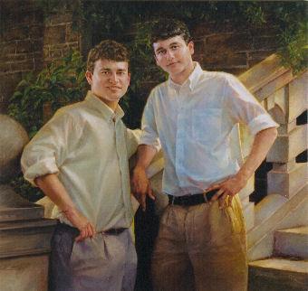oil portrait of two boys