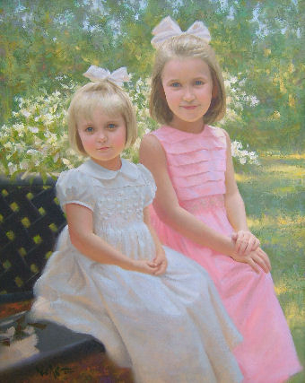 oil portrait of teo girls