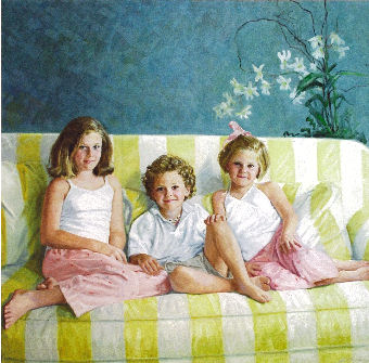 oil portrait of three children