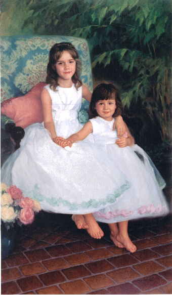 oil portrait of daughters