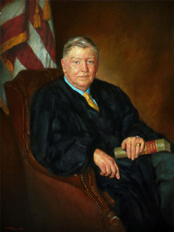 oil portrait of a judge sitting