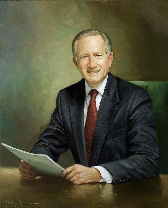 oil portrait of doctor at desk