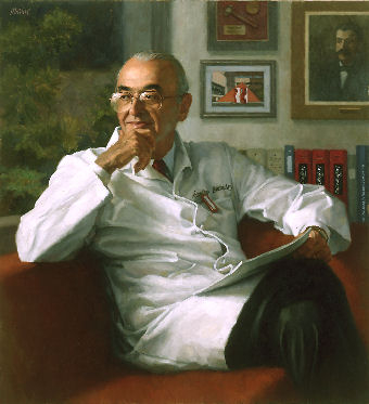 oil portrait of doctor on sofa