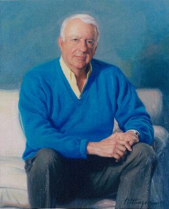 Oil portrait of man in blue sweater