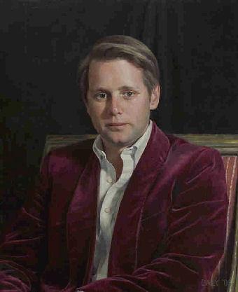 Oil portrait of man in red jacket