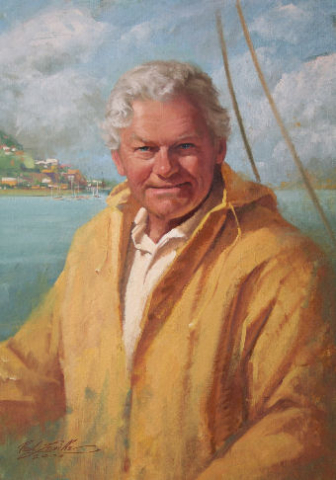 Oil portrait of man by the sea