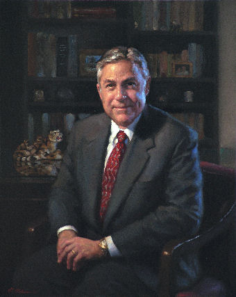 oil portrait of business man sitting