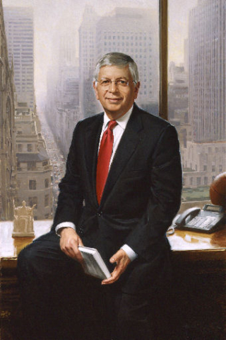 oil portrait of business man in office