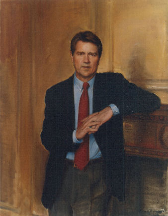 oil portrait of business man standing