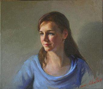 oil portrait of a woman in blue