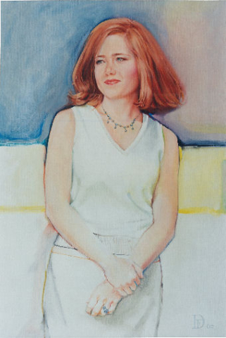 oil portrait of a woman with red hair