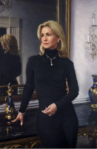 oil portrait of a woman in black