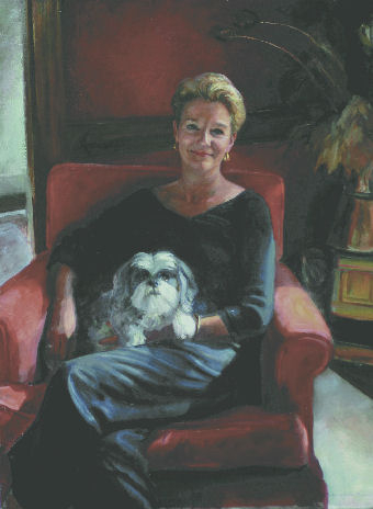 oil portrait of a woman holding dog