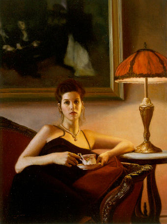 oil portrait of a woman by lamp
